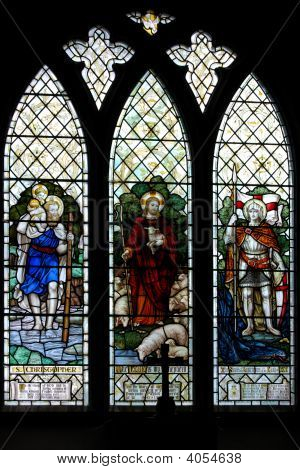 Stained Glass Window Of Saint Christopher & The Good Shepherd