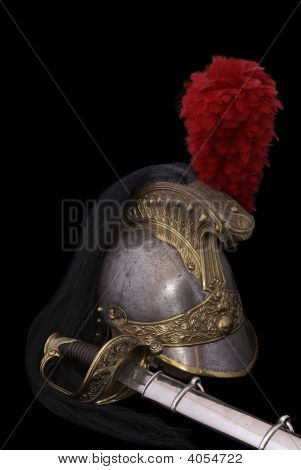 Composition With Saber (Sabre) And French Cuirassier Helmet