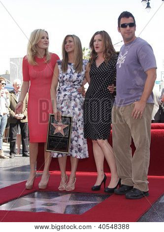 LOS ANGELES - FEB 22:  MALIN AKERMAN, JENNIFER ANISTON, KATHRYN HAHN & ADAM SANDLER arriving to Walk of Fame Ceremony for Jennifer Aniston  on February 22, 2012 in Hollywood, CA