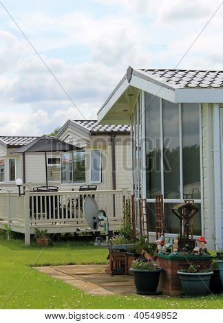 Exterior of mobile caravan homes in modern trailer park.