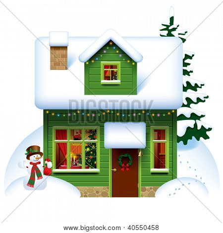 Raster version of vector image of the green wooden christmas house covered with snow with snowman and spruce