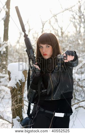 Portrait Of Armed Nice Young Lady