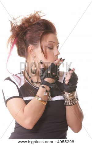 Girl Lighting Cigarette