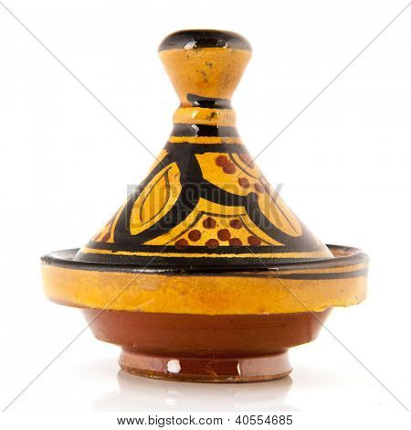 Colorful tagine in yellow and brown isolated over white background