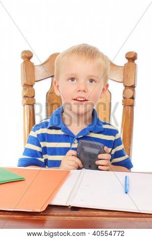 Little boy with notebook