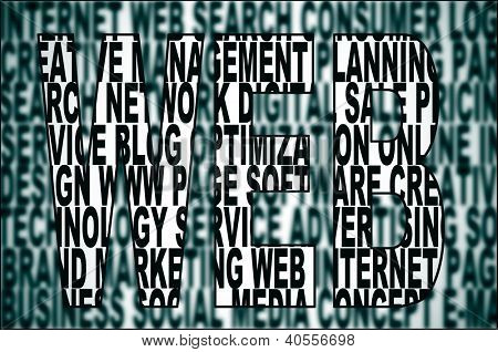 word web written on a background full of words about internet concept