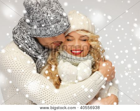 bright picture of family couple in a winter clothes