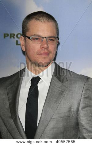 LOS ANGELES - DEC 6:  Matt Damon arrives at the 'Promised Land' Premiere at Directors Guild of America on December 6, 2012 in Los Angeles, CA