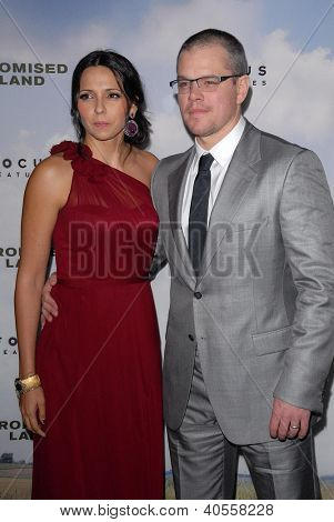LOS ANGELES - DEC 6:  Luciana Baroso, Matt Damon arrive at the 'Promised Land' Premiere at Directors Guild of America on December 6, 2012 in Los Angeles, CA