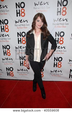 LOS ANGELES - DEC 12:  Amanda Leighton arrives to the NOH8 4th Anniversary Party at Avalon on December 12, 2012 in Los Angeles, CA