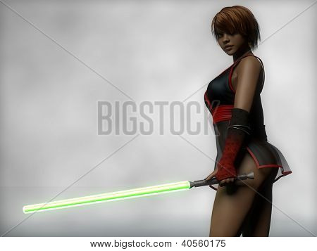 young sexy mulatto girl with lightsaber