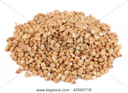 Buckwheat heap isolated on white background
