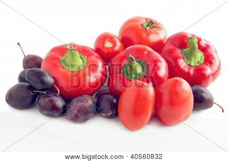peppers,tomatoes and plums