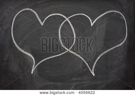 Two Heart Speech Bubbles On Blackboard
