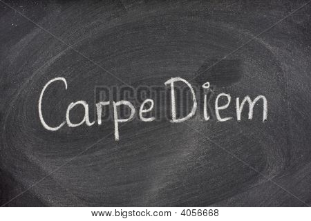 Carpe Diem Phrase On Blackboard