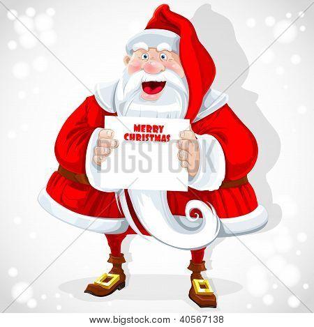 Lindo Papá Noel mantenga banner con saludos de Navidad