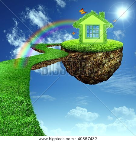 Funny Green House. Abstract Eco Background