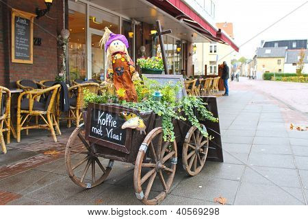 Decorative Cart Outside The Restaurant In Valkenburg. Netherlands