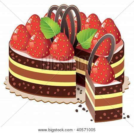Vector Cake With Strawberry