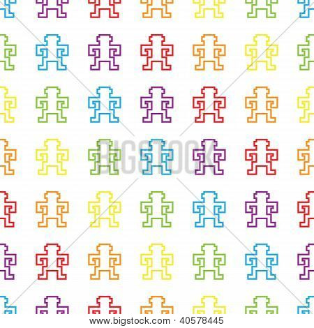 seamless retro rainbow pixel monkeys vector