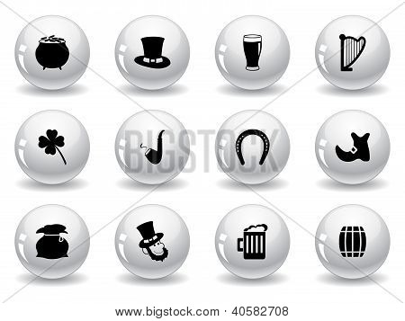 Web buttons, St Patrick's Day icons