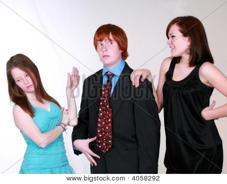 Blushing Teen Boy With Girls