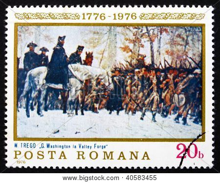 Postage stamp Romania 1976 Washington at Walley Forge