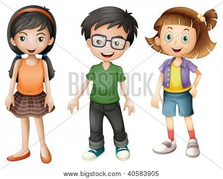 Illustration of a boy and girls on a white background