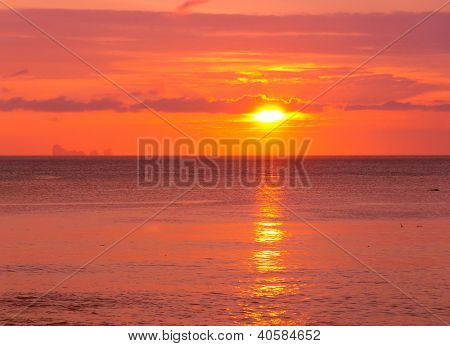 Fiery Backdrop Sunset Paradise