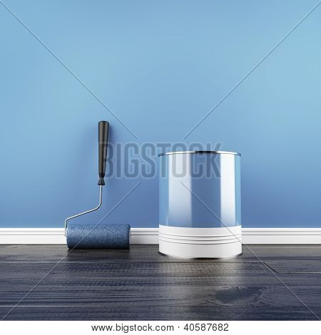 Painting of an empty blue wall.