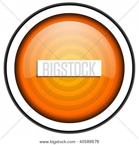 minus orange glossy icon isolated on white background