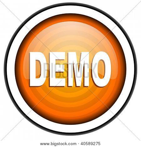 demo orange glossy icon isolated on white background