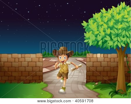 Illustration of a boy and a fence in a dark night