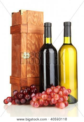 Wooden case with wine bottles isolated on white