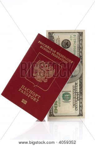 Passport Of Russian Federation And Hundred Us Dollars