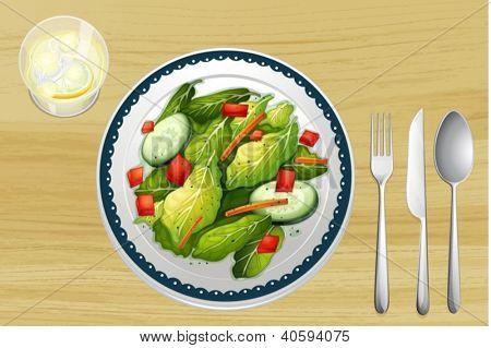 Illustration of a garnished salad on a wooden table