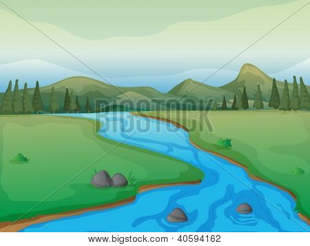 Illustration of a river, a forest and mountains
