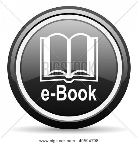 e-book black glossy icon on white background