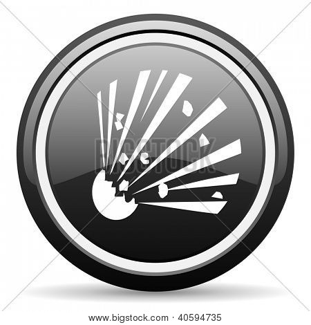 bomb black glossy icon on white background