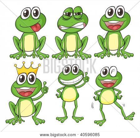 Illustration of green frogs on a white background