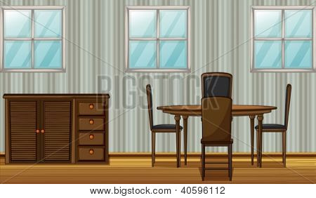 Illustration of a dinning table and wardrobe in a room