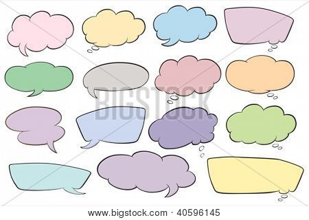 illustration of various shapes of callout on a white background