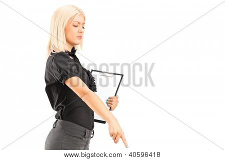 A brutal woman manager gesturing with her finger, isolated against white background