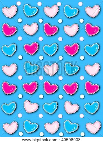 Heart And Pearls Bright Blue
