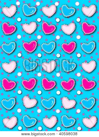Heart And Pearls Hot Pink Dots