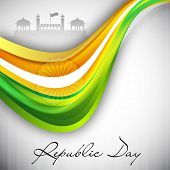 pic of asoka  - Indian flag color creative wave background for Republic Day EPS 10 - JPG