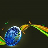 stock photo of asoka  - Indian flag color creative wave background with 3D Asoka wheel and butterflies - JPG