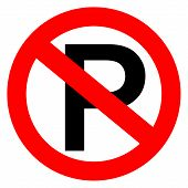 stock photo of traffic rules  - No parking sign vector illustration isolated on white background - JPG
