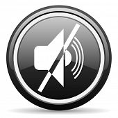 mute black glossy icon on white background