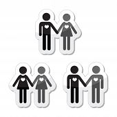 stock photo of gey  - Relationship diverstiy icons set  - JPG